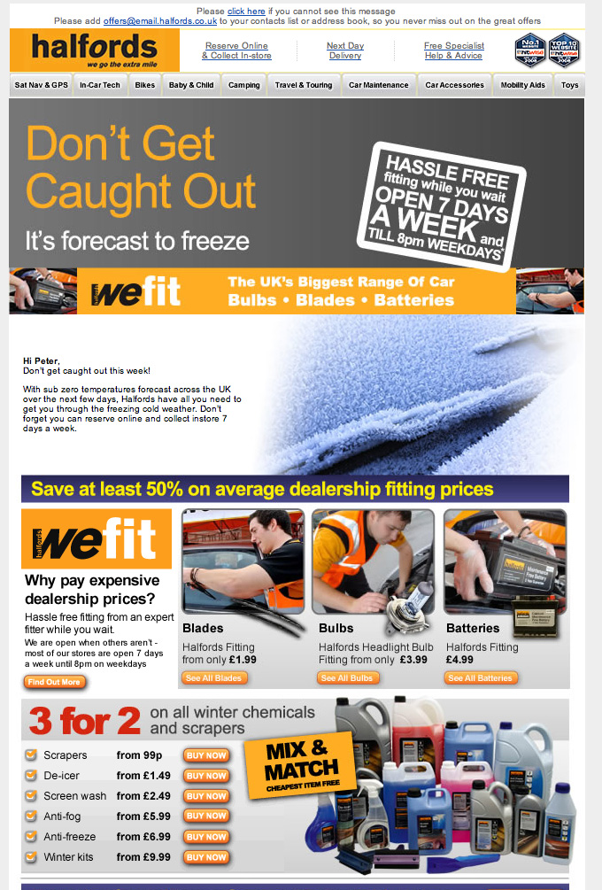 Halfords timely email example