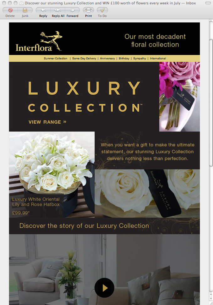 Email example: Interflora